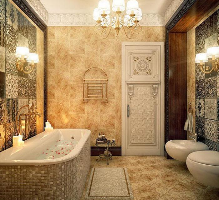 Классическая ванная комната, оформленная в спокойном интерьере