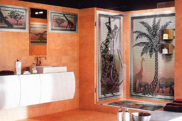 Терракотовая ванная комната смотрится по домашнему уютно