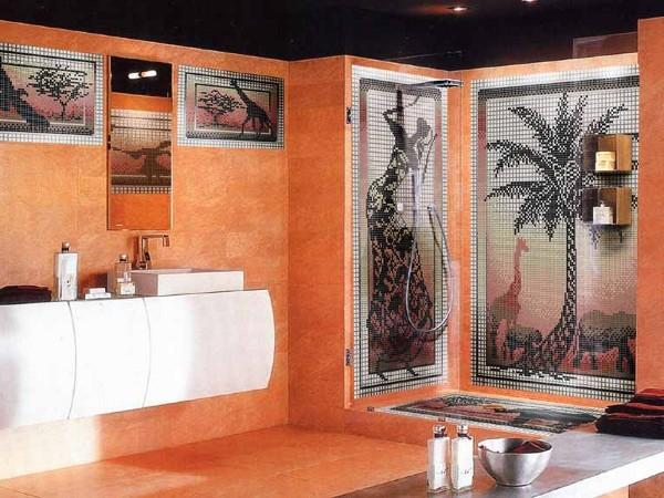 Красиво оформленная маленькая ванная комната, благодаря уложенной плитке маленьких размеров