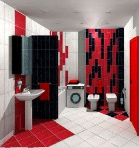 Комбинированный способ укладки плитки интересно делит пространство. Комната получается оригинальной и необычной