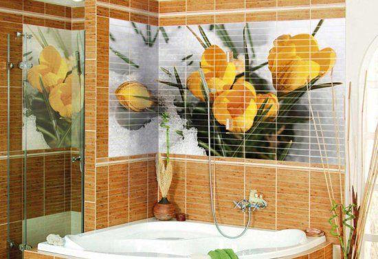 Красивая плитка в виде цветов способна наполнить комнату спокойствием и создать настроение