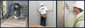 Наклеивание гипсокартона на стены