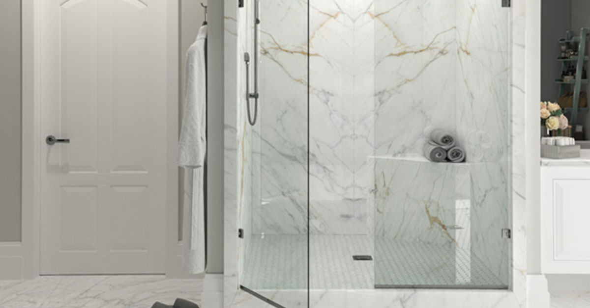 Stone slab in the shower