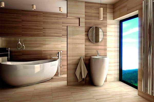 Плитка с имитацией дерева может отлично преобразить просторную ванную комнату