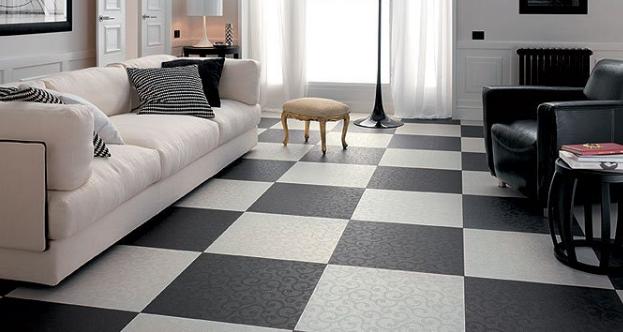 Особенно красиво шахматная укладка смотрится, когда поверхность плитки имитирует бархат