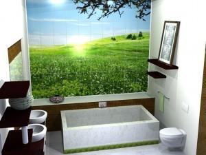 Очень красивый лесной луг дает возможность отдохнуть в ванной комнате от накопившихся проблем и просто полюбоваться картинкой